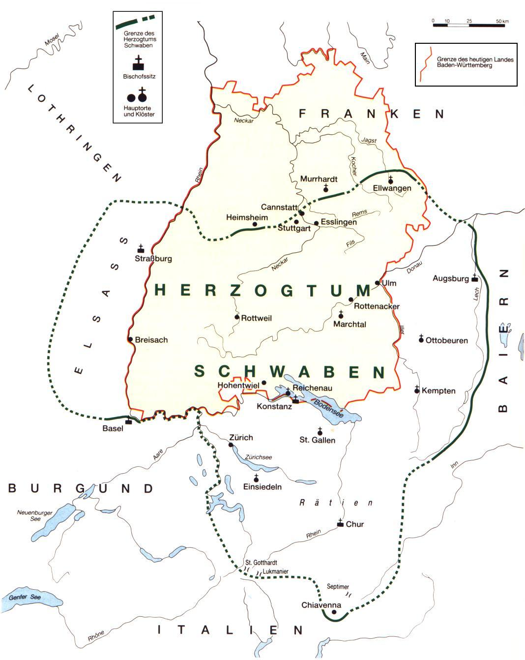 Schwaben Karte.Highlights Region Stuttgart
